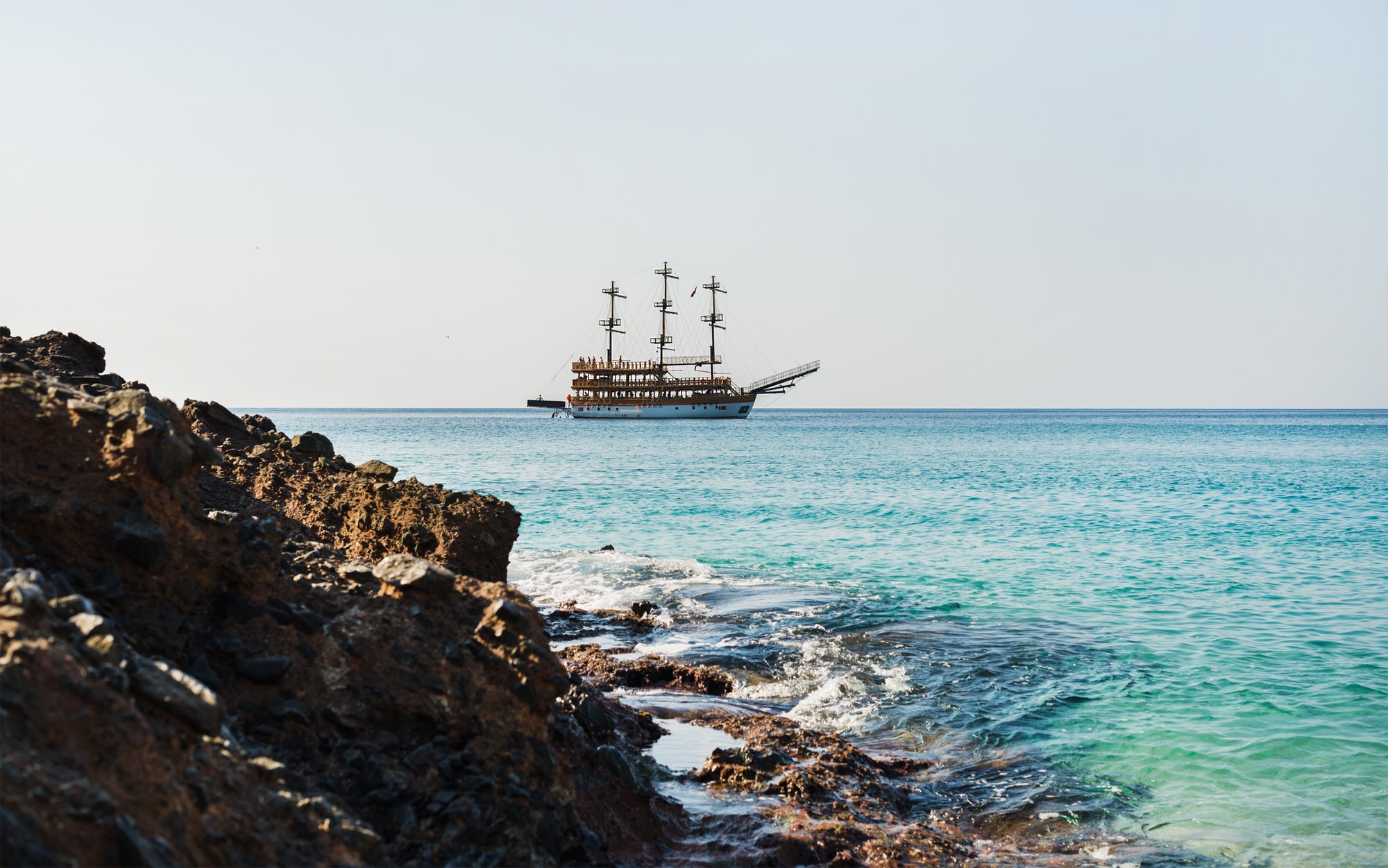 Clear water of Mediterranean sea at Cleopatra beach, Alanya, Turkey