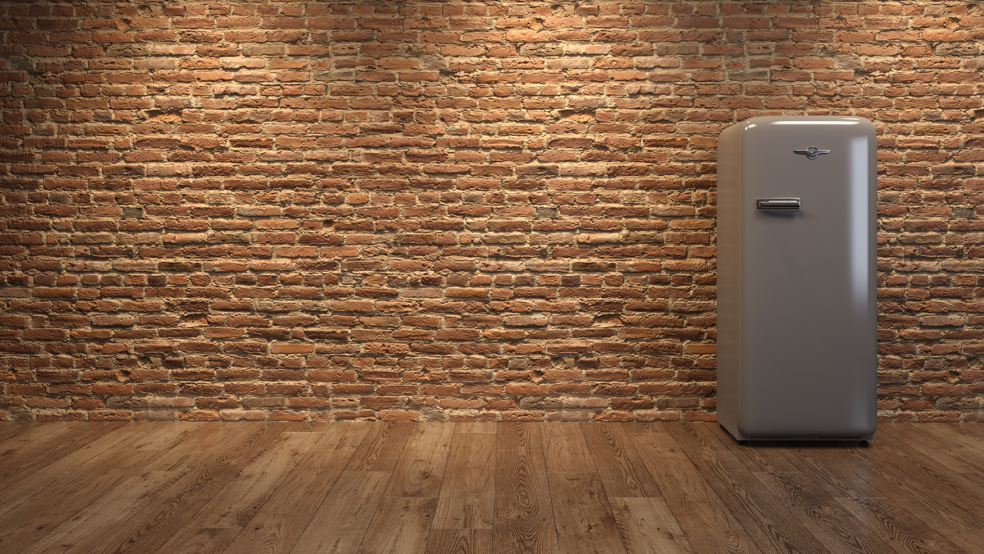 Interior with grey fridge and brick wall 3D illustration