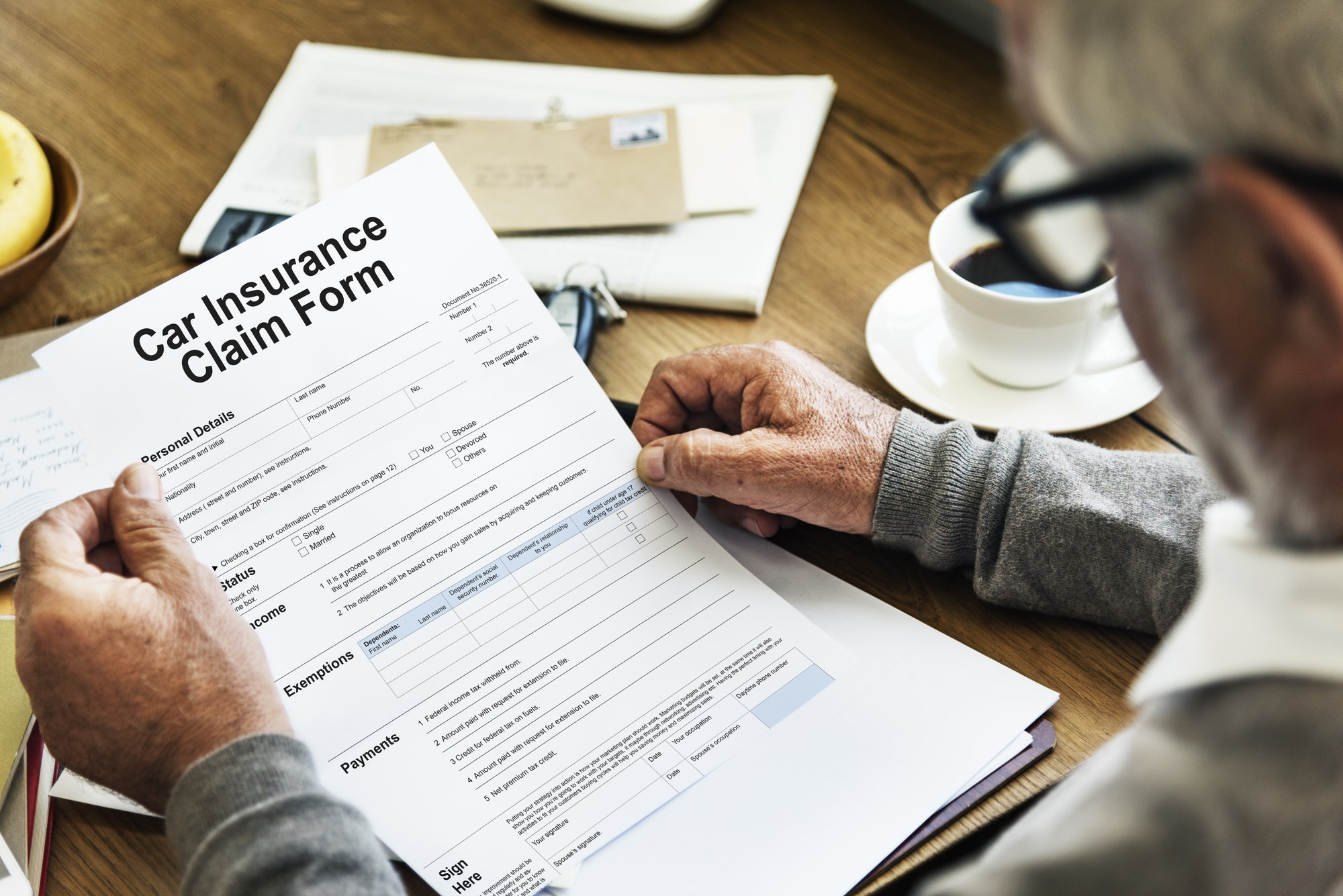 Vehicle Car Insurance Claim Form Concept